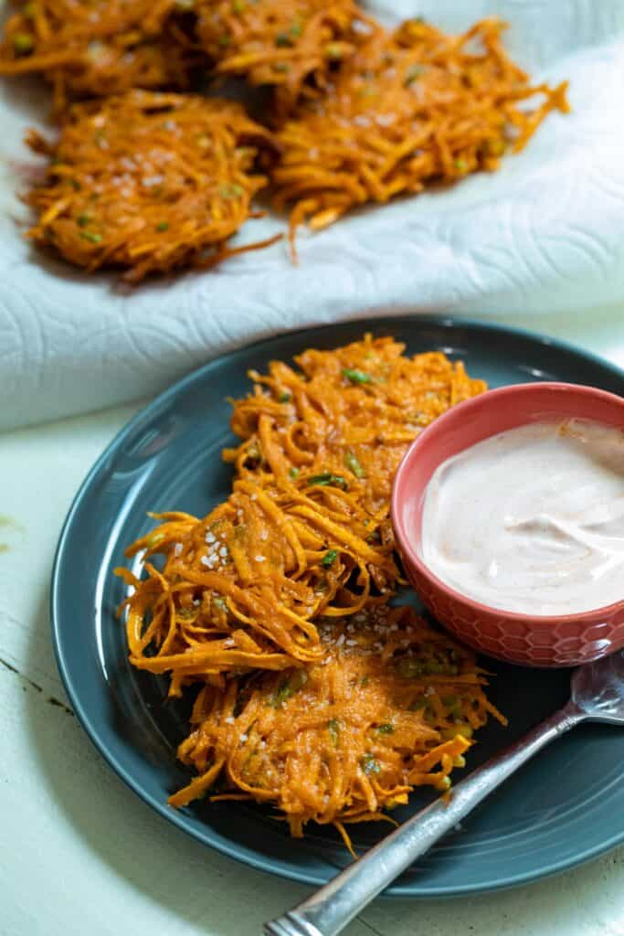 Sweet Potato Fritters on a plate